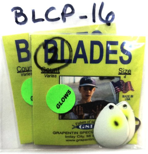 Custom Painted Colorado Blades - #BLCP-16 - Pearl/Glow w/Chartreuse & Black Eye - 2 Packs of 4 (8 Blades Total) - Great for Making Your Own Lures! (Pearl/Glow w/Chartreuse & Black Eye, BLCP-16)