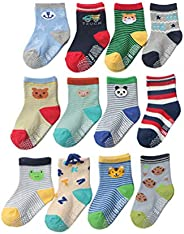 Baby Boys Toddler Non Skid Cotton Bright Colored Socks 12 pack