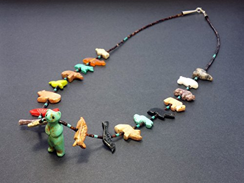 - Hand Carved Single Strand Standing Bear with Mixed Animals Multicolored Fetish Necklace