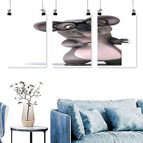 SCOCICI1588 3-Piece Modern Depositphotos stockfun Koala in Glasses Art Home Decor No Frame 16 INCH X 24 INCH X 3PCS