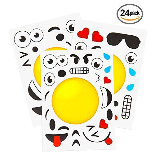 24 Make A Emoji Stickers For Kids Party Supplies Favors