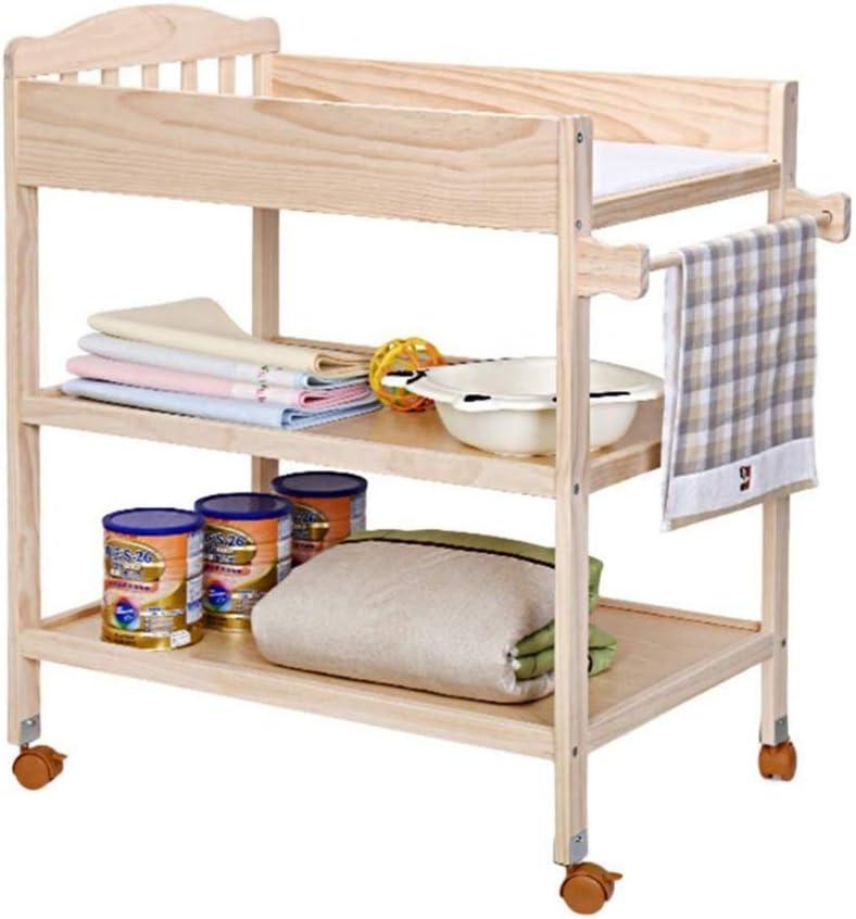 AYHa De café de madera con Cambio Pad y ruedas, Guardería infantil Dresser almacenaje Multi para los niños o bebés