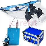 Careshine High-end Luxury Dental Surgical Medical Binocular Loupes 3.5X420+LED Head Light Lamp Blue+Aluminum box