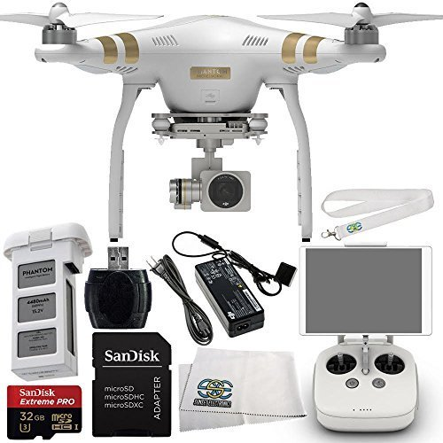 DJI Phantom 3 Professional Quadcopter Drone w/ 4K UHD Video Camera Starter Kit Includes SanDisk Extreme PRO 32GB UHS-I/U3 Micro SDHC Memory Card + Memory Card Reader + Transmitter Lanyard + Cloth