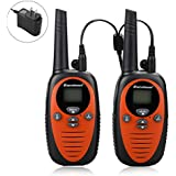 Excelvan 22 Channel FRS GMRS Dual Band 2 Way Radio Long Range Up to 3000M/1.9MI Range (MAX in Open Field) UHF Handheld Walkie Talkie with 1-to-4 Branch Power Adapter (2 Pack, Orange)