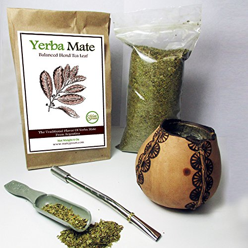 4Pc Argentina Yerba Mate Tea Gourd Cup Straw Bombilla 6oz Leaf Bag Kit Gift 3326 (Tea Yerba Gourd Mate)