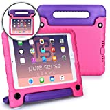Apple iPad Air 1, iPad 9.7 2017 case - [World's First Anti Microbial Case for Kids] PURE SENSE BUDDY Rugged Children Protective Girls Cover + Shoulder Strap, Handle, Stand, Cleaning Kit (Pink)
