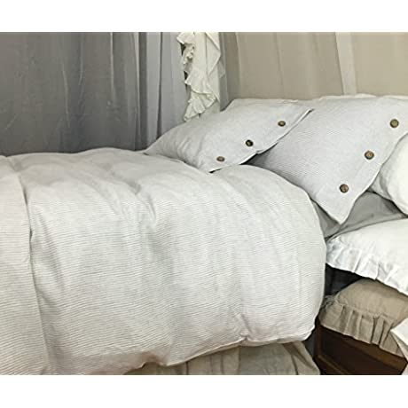 Stone Grey Ticking Stripe Duvet Cover With Wood Button Closure Natural Linen Duvet Cover Natural Linen Bedding Linen Bedding Queen Duvet Cover King Duvet Cover Twin Duvet Cover FREE SHIPPING