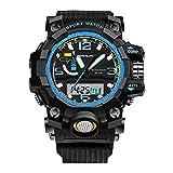 Sports Mens Watch - Outdoor Sports Digital Watch LED Luminous Digital Quatrz Movement Men Watch - Black + Blue