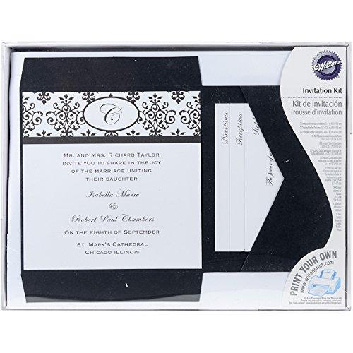 Black White Invitations - Wilton Black & White Scroll Monogram Pocket Invitation Kit