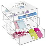 mDesign Office Supplies Desk Organizer for Staplers, Scissors, Pens, Markers, Highlighters - 3 Drawers, Clear