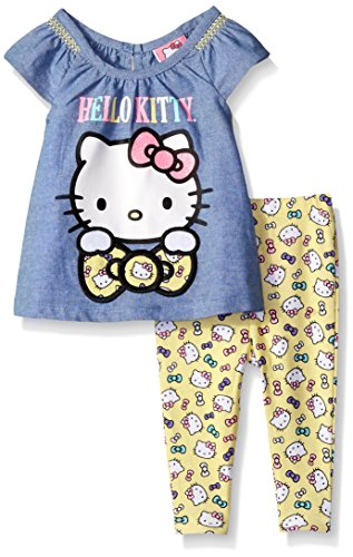 Hello Kitty Baby Girls' 2pc Woven T-Shirt and Legging Set, L