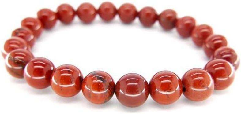 Pulsera de Jaspe Rojo Bolas 8mm Minerales y Cristales, Belleza energética, Meditacion, Amuletos Espirituales
