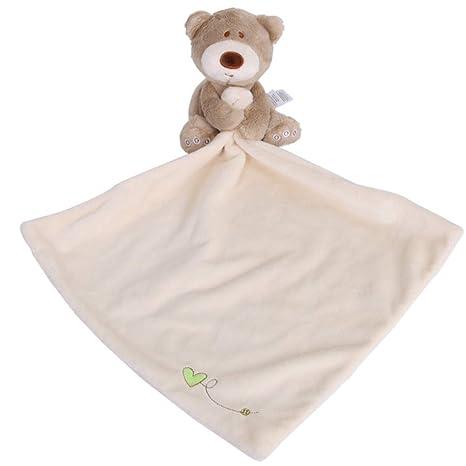 YeahiBaby Toallas Suaves para bebés con Lindo Animal de Peluche para Dormir Appease Toy Feeding Accessories
