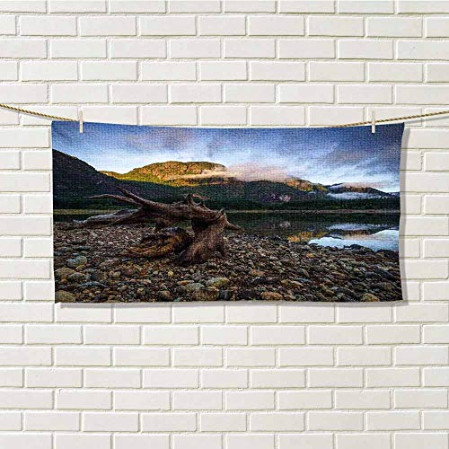 wwwhsl Couples Towel Driftwood Landscape of a Mountain Lake and Cloudy Sky Driftwood on Rocky Shoreline Blue and Brown Light Carrying Belt W20xL40 Inch
