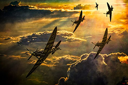 Spitfire Attack by Chris Lord Photo Art Print Poster 12x18 inch