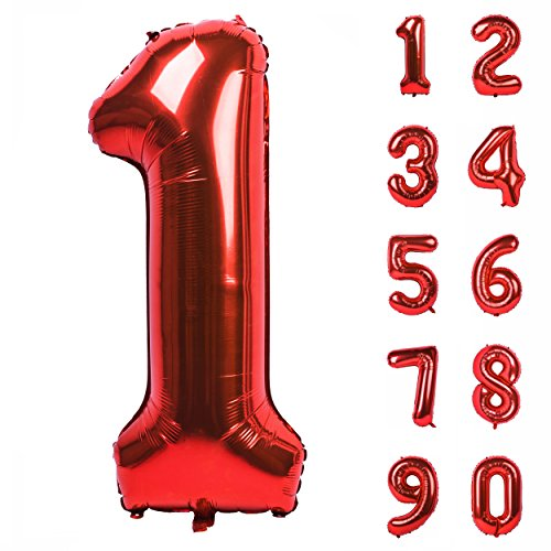 Angel&tribe 40 Inch Red Large Numbers 0-9 Birthday Party Decorations Helium Foil Mylar Big Number Balloon Digital 1