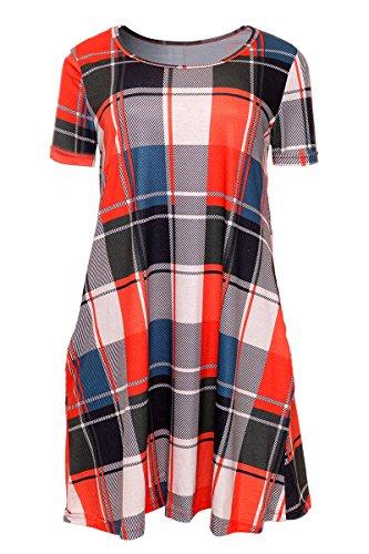 Laucote Ladies Short Sleeve Tartan Print Long Blouse Scoop Neck Pocket Mini Dress ,Orange,Medium Tartan Print