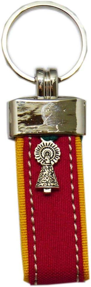 Llavero Virgen del Pilar. Tira Capote. Fucsia Amarillo 9,5cm: Amazon.es: Equipaje