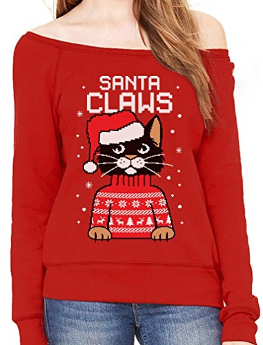 TeeStars - Santa Claws Cat Ugly Christmas Sweater Off Shoulder Sweatshirt X-Large Red