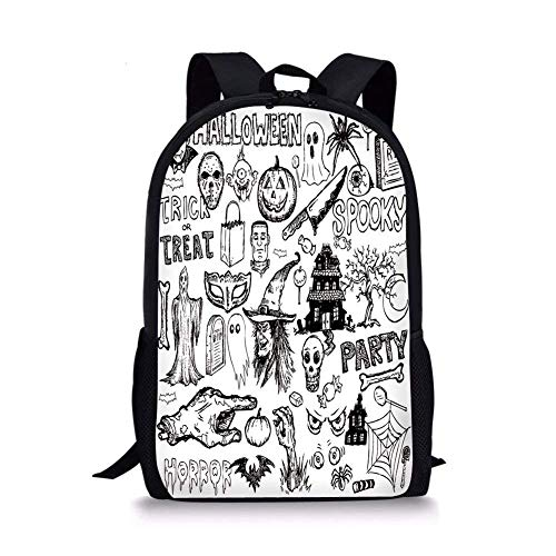 School Bags Vintage Halloween,Hand Drawn Halloween Doodle Trick or Treat Knife Party Severed Hand Decorative,Black White for Boys&Girls Mens Sport Daypack