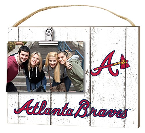"KH Sports Fan 10""x8"" Atlanta Braves Clip It Weathered Logo Photo Frame"
