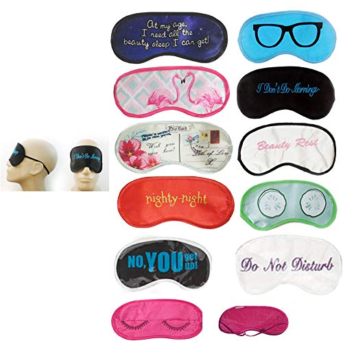 12 Pc Eye Mask Sleep Shade Cover Blindfold Rest Relax Travel Sleeping Aid Patch