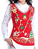 Image of Ugly Christmas Sweater, V28 Women Cute Vintage Knit Xmas Vest Pullover Sweater(Vest Red M)