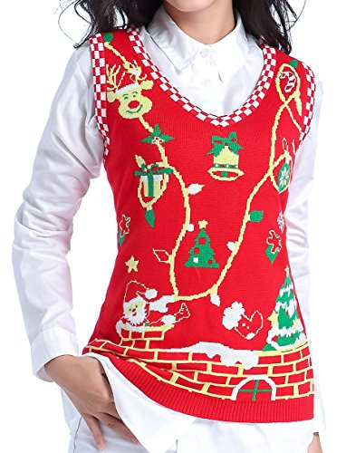 Ugly Christmas Sweater, V28 Women Cute Vintage Knit Xmas Vest Pullover Sweater(Vest Red M) Image