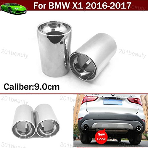 - 2pcs Silver Color Stainless Steel Exhaust Muffler Rear Tail Pipe Tip Tailpipe Extension Pipes Custom Fit for BMW X1 2016 2017 for Mitsubishi ASX 2008 2009 2010 2011 2012 2013 2014 2015 2016