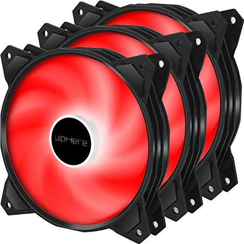 upHere Long Life 120mm 3-Pin High Airflow Quiet Edition Red LED Case Fan for PC Cases, CPU Coolers, and Radiators 3-Pack,PF120RD3-3