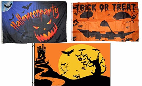 ALBATROS 3 ft x 5 ft Happy Halloween 3 Pack Flag Set #67 Combo Banner Grommets for Home and Parades, Official Party, All Weather Indoors -