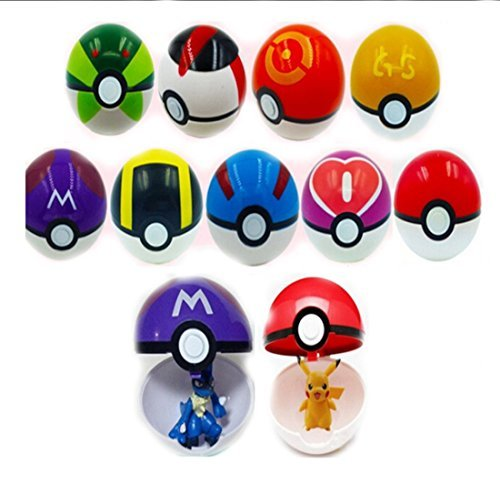 SIMBA 9 Pieces Different Style Ball +9 Pieces Figures Plastic Super Anime Figures Balls for Pokemon Kids Toys Balls