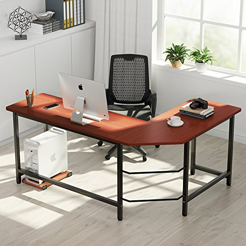 Shaped Desk Corner Computer Desk PC Laptop Study Table Workstation Home Office Wood & Metal (Dark Teak + Black Leg) ()