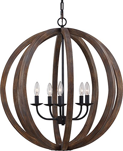 Feiss F2936/5WOW/AF Allier Pendant Lighting, Brown, 5-Light (26