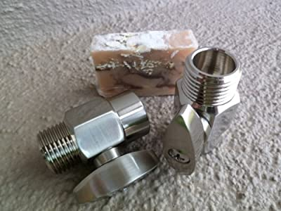 2 Brass Shower Flow Control Valves with Handmade Soap (3 Piece Bundle) - Brushed Nickel