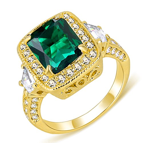 EleQueen Women's Gold-tone Prong Cubic Zirconia Crystal Party Ring Emerald Color Size 9 -