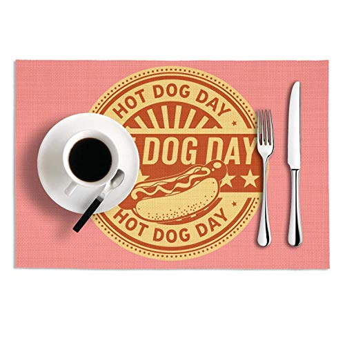 PVC National Hot Dog Day Retro Cool Table Mats Placemats Set Of 2 Stain Resistant Tablemats Washable Dining Table - Dog Placemat Retro