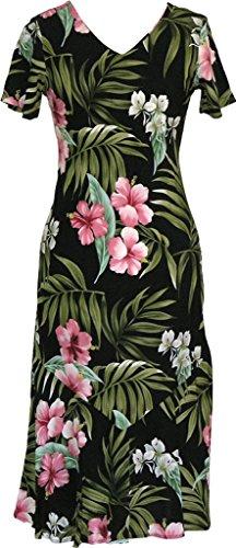 Robert J. Clancey RJC Women's Breathtaking Island Getaway Tea Length Cap Sleeve Hawaiian Dress Black Large