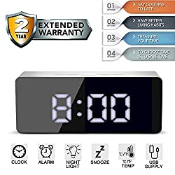 Alarm Clock Large Digital LED Display Portable Modern Battery Operated Mirror Clock USB Powered Smart Snooze Multi-function Time Date Month Temperature Fits for Office Bedroom Dormitory Travel White
