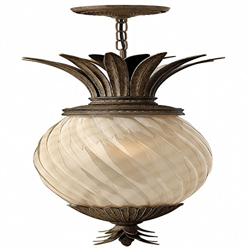 Plantation Pearl Bronze Light Four (Hinkley 2122PZ-LED Leaf, Flower, Fruit One Light Hanging Lantern from Plantation collection in Bronze/Darkfinish,)