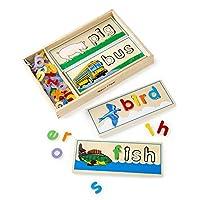 """Melissa & Doug See & Spell Learning Toy, juguetes de desarrollo, estuche de madera, desarrolla destrezas de vocabulario y ortografía, más de 50 piezas de madera, 3 """"de alto x 6.5"""" de ancho x 14 """"de largo"""
