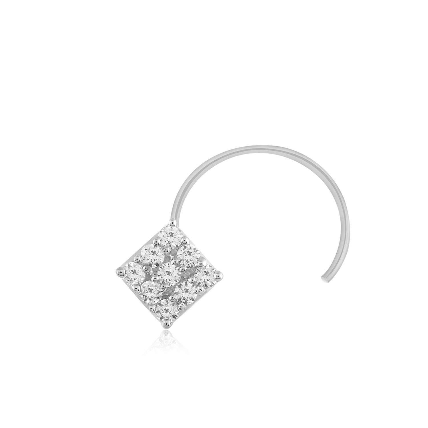 0.08 Ct Real Natural Diamond Nose Stud Ring Pin 925 Solid Sterling Silver CARATS FOR YOU JIF013102
