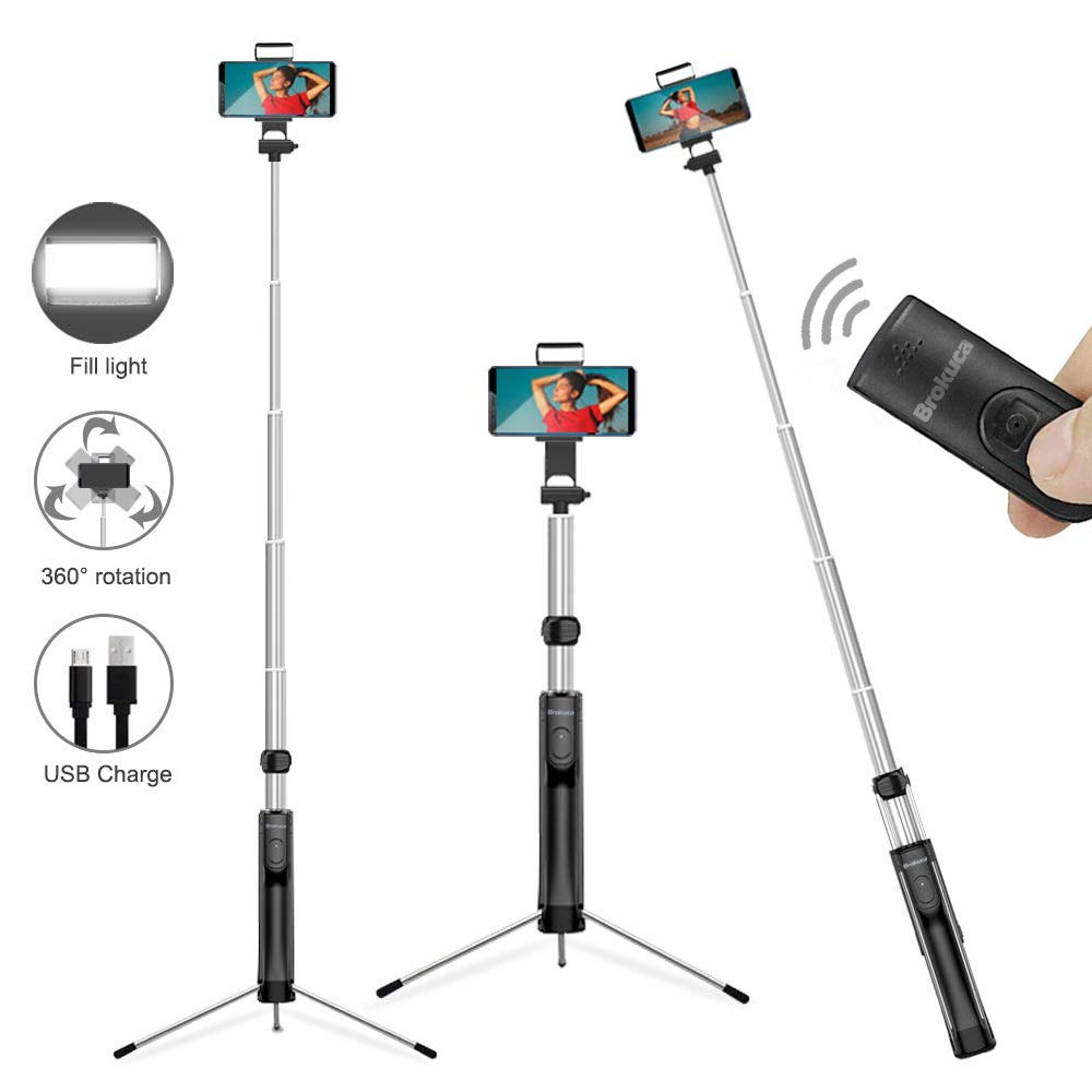 Selfie Stick Tripod, 63 Inches Extendable Selfie Stick with Detachable Bluetooth Remote Shutter and Fill Light, Compatible with iPhone Xs max/XS/XR/X/8/8P/7/7P/6s, Galaxy S10/S9/8/7/6, Huawei, More by Brokuca