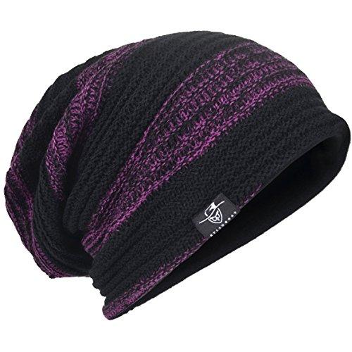 HISSHE - Gorro de Punto - para Hombre Retro-Purple