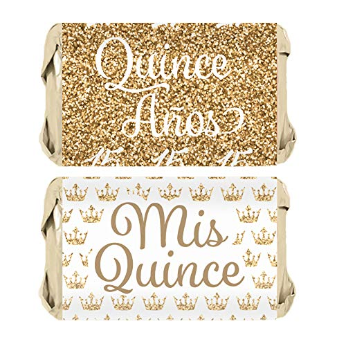 Quinceanera Party Mini Candy Bar Wrapper Stickers, 45 Count (White and Gold)]()