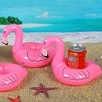 Gracioso portavasos Flamenco inflable - Ideal para la Piscina - Color rosa: Amazon.es: Jardín