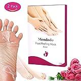 Foot Peeling Mask Mendodo Exfoliating Feet Mask Peel Away Calluses Dead Skin 2 Packs Rose Scented Booties Repair Rough Heels Get Silky Baby Soft Feet