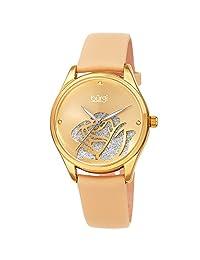 Burgi® BUR189 - Reloj de pulsera para mujer con esfera de corte de rosas con purpurina en polvo satinado, Dorado