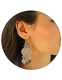 Large Boho Bohemian Statement Retro Vintage Fashion Metal Antique Silver Plated Authentic Unique Gypsy Long Dangle Drop Women Earrings